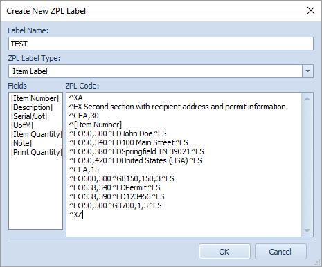 DataCollection ZPL Label Maintenance - SalesPad Support