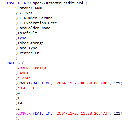 Importing Credit Card Transactions Using SQL Statements