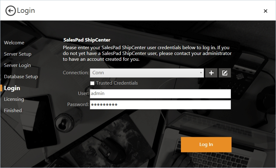 ShipCenter Log in Screen with Password