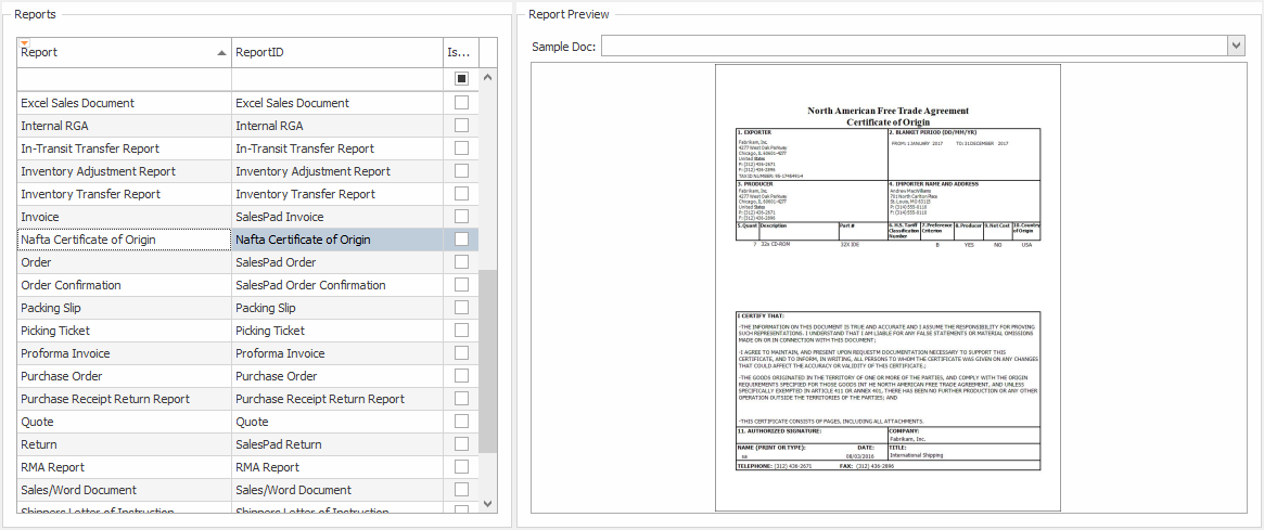 Nafta Certificate Of Origin Salespad Support